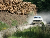 Rally driving in Powys, Wales